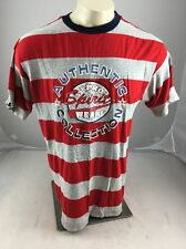 Vintage ProSpirit wear red grey striped puffy Shirt USA 90's Style Rare