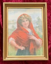 1950's Vintage Framed Gypsy Lady Print Picture