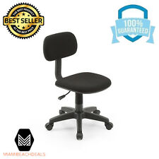 Adjustable Armless Padded Back Office Desk Computer Swiveling Task Chair Black