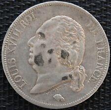 FRANCE 5 FRANCS LOUIS XVIII 1821 A ARGENT