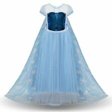 Girls Elsa Princess Dress Kids Summer Sequined Costume Party Cosplay Dress