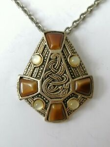 Vintage Miracle Celtic Cross Snake Knot Signed Faux Agate 1970s Pendant Necklace