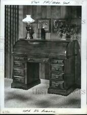 1974 Press Photo Roll Top Desk from Hooker Furniture Company in Virginia