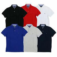 Tommy Hilfiger Mens Polo Shirt Slim Fit Mesh Knit Short Sleeve Flag Logo Solid