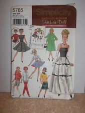 """Simplicity Sewing Pattern 5785 Barbie 11.5"""" Doll Fashion Dolls 8 Outfits  UNCUT"""