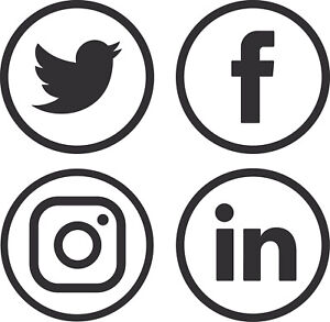 Social Media Logo Vinyl Stickers Window Walls Vehicle Display Twitter Round 001