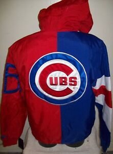 CHICAGO CUBS STARTER Hooded Jacket  S, M, L, XL, 2X RED & BLUE