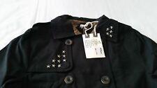 SURPLUS Damen Schwarz Trenchcoat, Größe 34, 100% Baumwolle