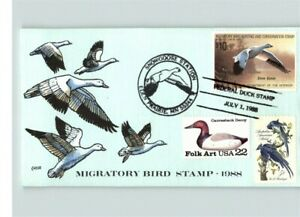 Hand Painted DUCK STAMP on 1988 cover, Migratory Bird Stamp, SNOW GOOSE, Collins