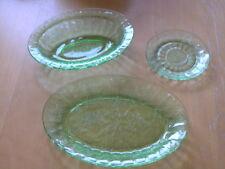 Jeanette Glass Floral Poinsettia Green Vaseline Uranium Platter Oval Bowl Saucer
