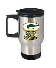 Green Bay Packers Fan Gift Cute Yoda Packers Coffee Travel Mug Christmas Gift