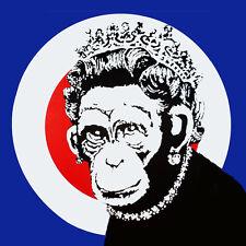 "BANKSY Queen Monkey *FRAMED* CANVAS PRINT poster Graffiti Art 20""x 20"""