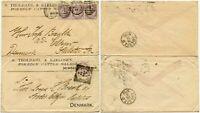 GB to DENMARK 1885 +1886 ADVERT ENVS.QV 2 1/2d + 3d FRANKINGS TROLDAHL NEWCASTLE