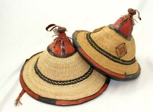 Authentic African Fulani Handmade Pure Leather Conical Straw Hat | Summer M L