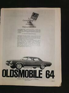 1964 GM  OLDSMOBILE italian original vintage italian ad page General Motors