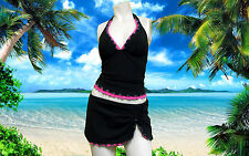 NWT GOTTEX PROFILE Black HALTER 2pc BATHING SUIT Tankini Swimsuit SET sz 8