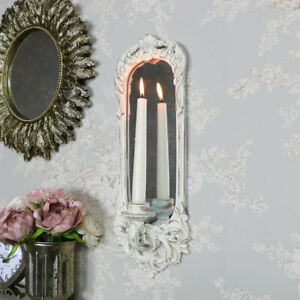 Ornate cream mirror wall candle sconce vintage French shabby chic display gift