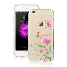 ORCHEDEE Hülle - Apple iPhone 7 PLUS Schmetterling Silikon Blume mit Strass - 16