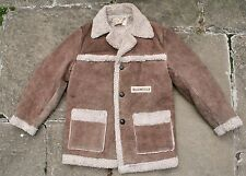 VTG SCHOTT BROS SUEDE LEATHER SHERPA LINED WESTERN RANCHER COAT JACKET SMALL
