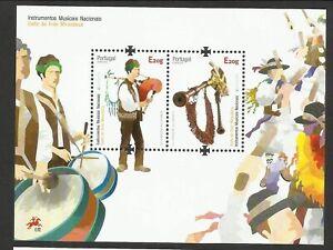 PORTUGAL AZORES MADEIRA EUROPA 3 MNH SOUVENIR SHEETS 2014 - MUSIC INSTRUMENTS