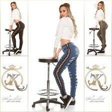 Damen Sexy Koucla Skinny Jeans Used Look Hose mit Schnürung