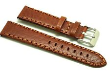 20mm Red Brown Premium Calf Buffalo Grain Leather Watch Strap Stainless Buckle