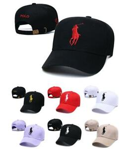 Unisex Polo Baseball Cap With Fine Embroidery 3 Big Pony Logo Adjustable Hat New