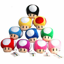 10pcs Super mario bros mushroom 7cm Stuffed plush doll toy red blue pink black