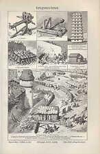 Litografía 1906: guerra-Maquinaria. guerra catapulta Testudo sturmbock Aries onage