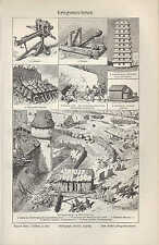 Lithografie 1906: Kriegs-Maschinen. Krieg Katapult Testudo Sturmbock Aries Onage
