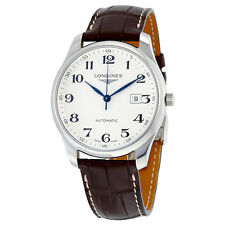 Longines Master Collection Silver Dial Brown Alligator Leather Automatic Mens