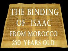 "TORAH SCROLL BIBLE JEWISH FRAGMENT MOROCCO 250 YRS "" the binding of Isaac """