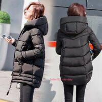 Women Winter Warm Cotton Down Coat Hooded Quilted Jacket Padded Outerwear Parka
