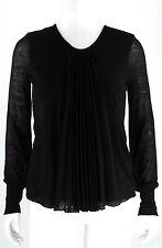 Hugo Boss Plissee Shirt L 40 Strick schwarz Pullover Wolle Polyacryl Bluse Top