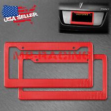 2Pcs Plastic Red Carbon Fiber Style License Plate Frames Front & Rear Bracket