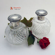 2 Large Cologne Bottles Sterling and Brilliant Cut Glass Birmingham 1915