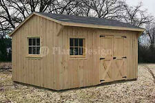 10' x 14' Saltbox Roof Garden Storage Shed Plans / Blueprints, #71014