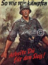 Vintage German Propaganda 11x17 Poster So Wie Wir Kampfen