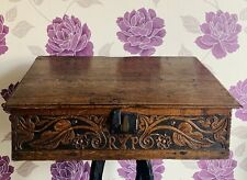 C. 17th Century Oak Wood Marriage Bible Box With VR Crown Mark. Initials: R&P