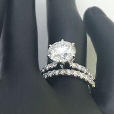 REAL DIAMOND BAND SET RING SI1 14K WHITE GOLD 3 CARAT WOMEN SIZE 4 1/2 - 9