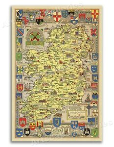 Historical Map of Ireland- Vintage Style Map - 24x32