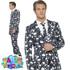 Men's Day of The Dead Skeleton Skull Suit Halloween Fancy Dress Costume 01- 4371 Medium