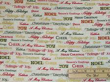 Winter's Grandeur 5 Mult Ornament Words Christmas Fabric by 1/2 Yard  #16586-223