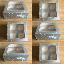 🎄 2 x Christmas Xmas Cake Cupcake Boxes Packaging Holds 4 Silver With Insert 🎄