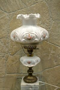 """Fenton Lamp MILK GLASS with FOUNT/Marble Base LOUISE PIPER ROSES 20"""" student"""
