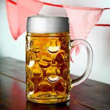 More details for 6x german beer stein glass 1l dimpled mug tankard drink pint cider bar pub