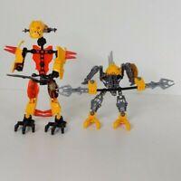 Lego Bionicle - TWO FIGURES! Yellow, Orange, Gray  - AS SHOWN - BFA24