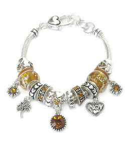BIRTHSTONE NOVEMBER Euro-Style Lampwork Beads Yellow Rhinestone Charm Bracelet