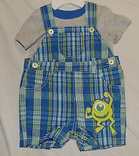 New Disney Baby Boy Monsters Inc Mike Outfit Overalls Shorts Adjustable Size 6-9