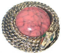 VINTAGE COILED SNAKE PIN WRAPPED AROUND CORAL ART GLASS